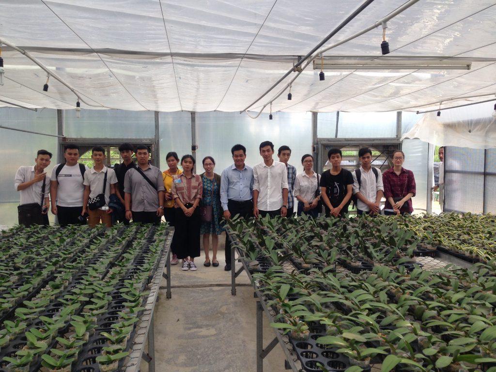 Sinh viên tham quan nhà lưới nuôi trồng lan Hồ điệp – Công ty Lâm nghiệp Tiền Phong